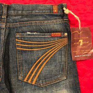 NWT 7FAM Gold Dojo Funky Flare Jeans